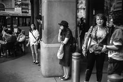 Waiting outside QVB Sydney 2017  #710 (lynnb's snaps) Tags: ilfordfp4 xtol film leicaiiic cv21mmf4colorskoparltm barnack rangefinder rangefindercameras street sydney townhall australia people girls talking waiting qvb blackandwhite bw bianconegro bianconero blackwhite biancoenero blancoynegro noiretblanc schwarzweis monochrome ishootfilm ©copyrightlynnburdekinallrightsreserved