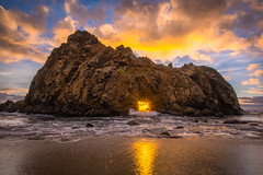 Big Sur California Ocean Beach Sea Cave Sunset Dusk! Breaking Thunderstorm Red, Orange, Yellow Clouds! Nikon D810 & Sharp AF-S NIKKOR 14-24mm F2.8G ED Lens Nikon Wide Angle Zoom!  Big Sur Keyhole Rock Winter Solstice Sunset through Window Rock Hole! (45SURF Hero's Odyssey Mythology Landscapes & Godde) Tags: orange malibu california ocean beach sea cave sunset dusk blue hour beautiful vista views nikon d810 sharp afs nikkor 1424mm f28g ed lens from wide angle zoom long exposure fine art landscape seascape hdr photography elliot mcgucken photos
