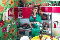 THE CALL (@rafazapatta) Tags: fashionroyalty korinne doll fashiondolls green integritytoys kitchen kitsch photography ponytail red