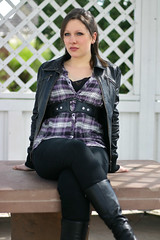 Helena 28 (The Booted Cat) Tags: sexy teen girl model boots tight jeans leather jacket heels highheels