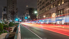 Fifth Avenue Flash (20180606-DSC07824-Edit-Edit) (Michael.Lee.Pics.NYC) Tags: newyork fifthavenue night lighttrails longexposure traffic architecture cityscape flatironbuilding sony a7rm2 fe24105mmf4g