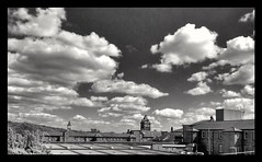 Rooftops (Develew) Tags: sheffield northerngeneralhospital blackwhite monochrome southyorkshire england skyline cloudscape landscape architecture sky buildings oldclocktower bricks orangefilter contrast