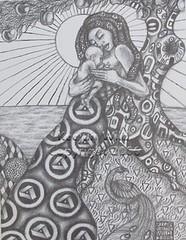 Madonna with Peacock by Keejun Sunstone Wild (Keejun Wild) Tags: keejun sunstone wild mother dreads dreadlocks woman child baby inspirational zen zentangle pen pencil drawing art klimt ornimental sun love girl apple tree ocean water rasta rastafarian