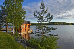 Classic finnish sauna. Floating sauna on the lake. Summer in Finland. Lake Päijänne. Sysmä (L.Lahtinen (nature photography)) Tags: finland summer sauna floatingsauna lake evening sysmä päijänne landscape classic flickrfriday midnightsun midsummer light naturephotography clouds suomi