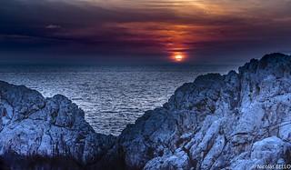 Sunset : phare de Punta Carena - Capri, Italie
