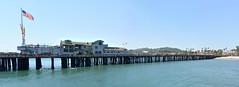 Stearns Wharf_2 (joe Lach (On Vacation) !!) Tags: americanflag california santabarbara stearnswharf beach blue green joelach pacificocean panorama panoramic pier