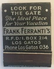 FRANK FERRANTI'S LOS GATOS CALIF (ussiwojima) Tags: frankferrantis lapacevilla losgatos california advertising matchbook matchcover