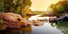 Gunlom pools in sunset glow (Louise Denton) Tags: gunlom kakadu nt australia northernterritory explore 4wd pano panorama stitched photoshop yellow golden goldenhour light