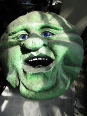 Green Cheese Man in the Moon 3883 (Brechtbug) Tags: green cheese man moon george melies type inspired by 1902 film le voyage dans la lune a trip scifi science fiction movie magic french early special effects space travel galaxy universe luna new york city 2018 night head paper mache