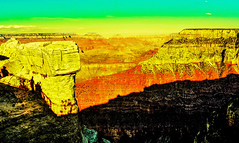 Looking over the Railing. (Woodypug) Tags: beauty grandcanyon sunrise nationalparkservice arizona art god creation