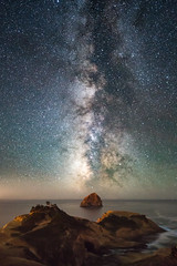 Cape Kiwanda at Night (Matt Payne Photography) Tags: capekiwanda coast darkness haystackrock landscape lincolncity milkyway night nightscape ocean oceanic oregon pacificcity pacificnorthwest stars water dark horizons