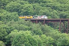 Westbound on the Moodna Viaduct (HDR's Photos) Tags: railfanning trains unionpacific scenicrailexcursion salisburymillsny railroadbridge moodnaviaduct valley landscape diesellocomotives emdsd70ah gec418 up1943