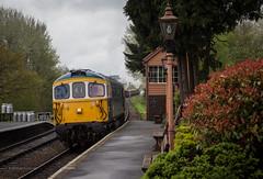 Crossing at Hampton Loade (michaelgreenhill) Tags: class33 england smoke 33108 train diesel hamptonloade railway shropshire locomotive station steam unitedkingdom gb