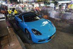 Blue Porsche (Matt Molloy) Tags: mattmolloy photography longexposure movement motion blur lights night people yellow blue car porsche motorbike busy street signs vendors khaosanroad phranakhon bangkok thailand lovelife