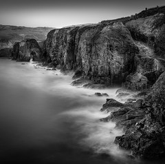 Cliff Steps, Perranporth (Mick Blakey) Tags: perransands perranporth uk beach blackwhite boulders cliffs coast coastpath coastsurf coastal coastline contrast cornish cornwall dramatic highlights mist monochrome moody path rocks rugged sea seascape shoreline surf tidal waves white