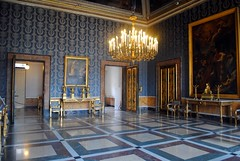 Palazzo Reale - Second Anteroom (zawtowers) Tags: naples napoli campania italy italia may 2018 summer holiday vacation break warm dry sunny palazzo reale royal palace baroque architecture built 17th century used bourbon kings residence second anteroom blue square tiled floor chandeliers