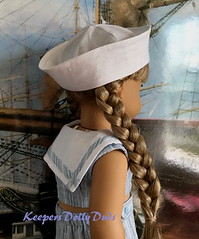 Side View of Nautical Outfit (Keepersdollyduds) Tags: nautical sailor cotton keepersdollyduds keepers 18dolls dollclothes clam diggers croptop