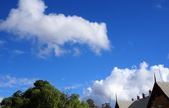 Quorn. Roof ventilators along the Quorn school classrooms. This wing was built in 1881 and 1882.Now a kindergarten (denisbin) Tags: quorn pichirichi railway carriage train school clouds roof roofventilators