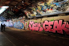Grow Pot In The Skies (Douguerreotype) Tags: london people uk urban art british street streetart city tunnel britain silhouette gb wall graffiti england