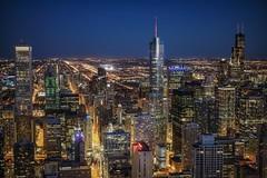 Chicago (karinavera) Tags: city longexposure night photography cityscape urban ilcea7m2 sunset chicago aerial blue
