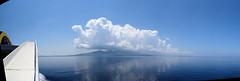 147 | Ereikoussa (probably) (panorama) (Mark & Naomi Iliff) Tags: mv elyros ελυροσ anek ανεκ aboard afloat ferry ship atsea adriatic mediterranean ereikoussa ερεικούσα panorama clouds reflections sea