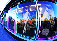 Los Angeles (kirstiecat) Tags: forte couleur fisheyelens usa losangeles weird strange wonderful odd california mannequin shop shopdisplay shopwindow wild crazy bizarre blue colors america lostangeles lostangels canon street energy eccentric
