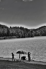 Hungry   ?? (tucsontec) Tags: angeln fisherman fischer fishing lake see tchechien frymburk landscape landschaft lac nature outdoor blackwhite schwarzweis monochrome mountain
