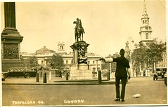 Policeman, Trafalgar Square, London postcard (1920s) (The Wright Archive) Tags: policeman trafalgar square london vintage real photo postcard metropolitan police mps themet charabanc nelsons column old photograph rppc england uk londonpolice 1920s 1929 interwar period interwaryears