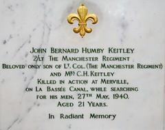 Killed on the retreat to Dunkirk (delta23lfb) Tags: rmas sandhurst royalmilitaryacademy royalmemorialchapel plaque keitley johnbernardhumbykeitley ww2 dunkirk manchesterregiment labasseecanal