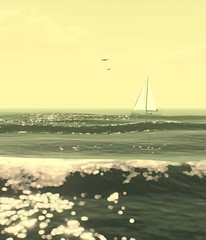 Sailing Free (Stachmo) Tags: sailing free reshade gta v grand theft auto 5 video game screenshot ocean waves boat birds