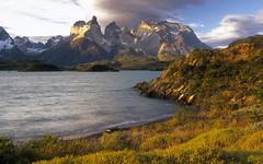 torres-del-paine-002 (Biogeoweb) Tags: chile cuernosdelpaine lake landscape lateafternoon mountain mountainrange nationalpark outdoors patagonia shore southamerica sunset torresdelpaine