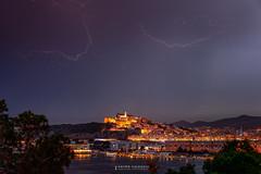 Lightnings over Dalt Vila old town , Ibiza. (Anton Calpagiu) Tags: lightnings night cityscape daltvila ibiza talamanca oldtown storm bay harbour clouds sea