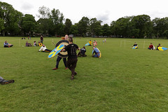 Historia Normannis Meadows June 2018-384 (Philip Gillespie) Tags: historia normannis central scotland sparring fighting shields swords axes spears park grass canon 5dsr men man women woman kids boys girls arms feet hands faces heads legs shins running outdoor tabards chain mail chainmail helmets hats glasses sun clouds sky teams solo dead act acting colour color blue green red yellow orange white black hair practice open tutorial defending attacking volunteer amateur kneeling fallen down jumping pretty athletic activity hit punch