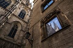 La Catedral (8230This&That) Tags: europe mediteranean spain ancientruins art culture history barcelona catedraldebarcelona cathedral goth gothic gothiccathedral reflection window windowreflection architecture catalunya es