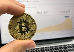 Round Gold-colored Bitcoin - Credit to http://homedust.com/ (Homedust) Tags: achievement bank bargain bitcoin blockchain business closeup coin coinbase commerce computer crypto cryptocurrency currency data facts finance financial hand internet investment laptop money savings success technology wealth