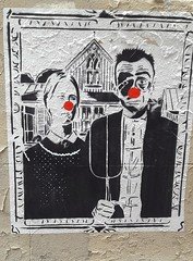 """Red nose"" (Juin 2018) (Ostrevents) Tags: paris 75 capitale europa europe mur wall collage sticker papierpeint papierpaint papier paper peint paint tableau détournement cover couple ferme farm fermier farmer homme femme nezrouge rednose nez nose rouge red fourche fork humour humor chn ostrevents"