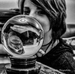 Day 145. (lizzieisdizzy) Tags: blackandwhite blackwhite black whiteandblack white whiteblack table tabletop glass girl chromatic child female face family fairhaired reflections reflection reverse reversed image reversedimage highresolution