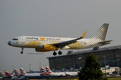 """Vueling Airlines EC-MNZ Airbus A320-232 Sharklets cn/7351 Painted in """"Vueling Loves Barcelona"""" special colours 05-2017 @ EGLL / LHR 26-05-2018 (Nabil Molinari Photography) Tags: vueling airlines ecmnz airbus a320232 sharklets cn7351 painted vuelinglovesbarcelona special colours 052017 egll lhr 26052018"""