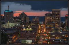 T-Town Dusk (Ernie Misner) Tags: f8andvisitttown thedarkcloudactuallyfit iownthehuntmottetbuilding tacomawa tacoma washington erniemisner nikond810 lightroom topazstudio nik capturenx2 cnx2 70200e pugetsound ashortlongexposure