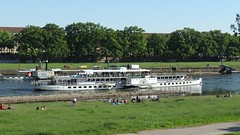 River Elbe, Dresden (GothPhil) Tags: boat ship paddlesteamer historic transportation dampfschiffahrt river elbe sightseeing tourism riverbank dresden saxony sachsen germany may 2018