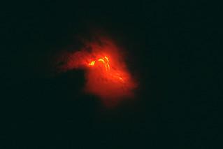 Landsat night-time of current volcanic flows on Hawaii (the big island), Hawaii