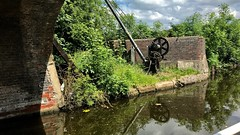 The old canal crane. (Martin's Online Photography) Tags: lancashire iphone leigh iphoneleigh water reflection reflecting canal bridgewater bridge crane