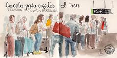 Sants (Fotero) Tags: usk urbansketch urbansketcher urbansketching acuarela watercolor dibujo cuaderno cuaderno14 sketchbook estacion ferrocarril viajeros tren ave renfe barcelona