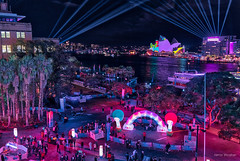 Awash with light (JustAddVignette) Tags: australia cahillexpressway circularquay city cityscape clouds landscapes lightfestival lights newsouthwales night nightscape reflections seawater sky sydney sydneycbd vivid vivid2018 vividsydney water