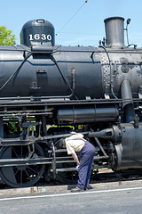 Checking (NikonD3xuser1(Thanks for 1.9 million visits)) Tags: usa illinois rockford illinoisrailwaymuseum engine train man nikon d850 gear checking