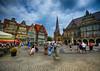 Market Square in Bremen, Germany (` Toshio ') Tags: toshio bremen germany german europe european europeanunion marketsquare bremermarktplatz people square oldtown church cityhall cafe fujixt2 xt2