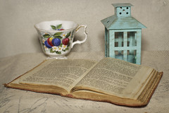 Still Life with Book and Coffee cup (N.the.Kudzu) Tags: tabletop stilllife book cup lantern canon70d manualfocus primelens zenitar50mmf12 texture dxoopticspro11