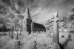 Ponsonby church (Ade G) Tags: bw church infrared nature weather buildings clouds graves plants trees