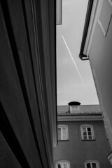 Skywards (mripp) Tags: art vintage retro old black white mono monochrom urban city stadt bavaria bayern unesco world heritage site plane sky germany sony rx1rii