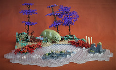 Dewbackosaurus at the watering hole (adde51) Tags: adde51 lego moc nature stream water river tree trees technique dewback reptile dinosaur history foitsop jurrasic starwars scene vig vignette